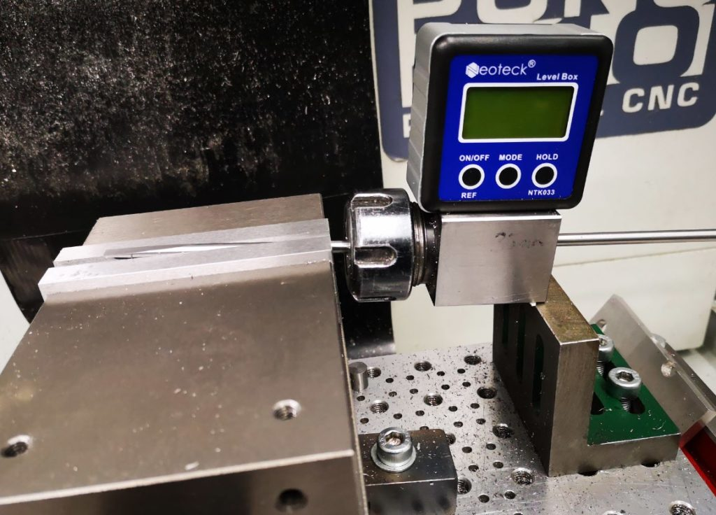 complete assembly set up for taper milling