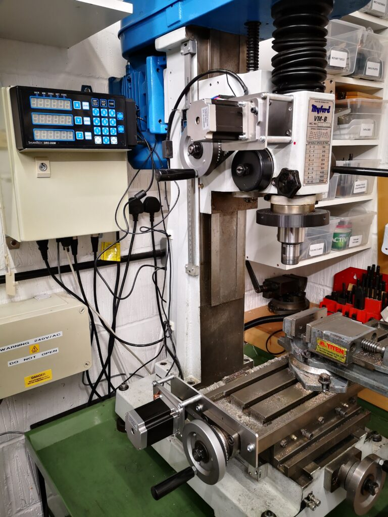stepper motor control of a VMB manual milling machine