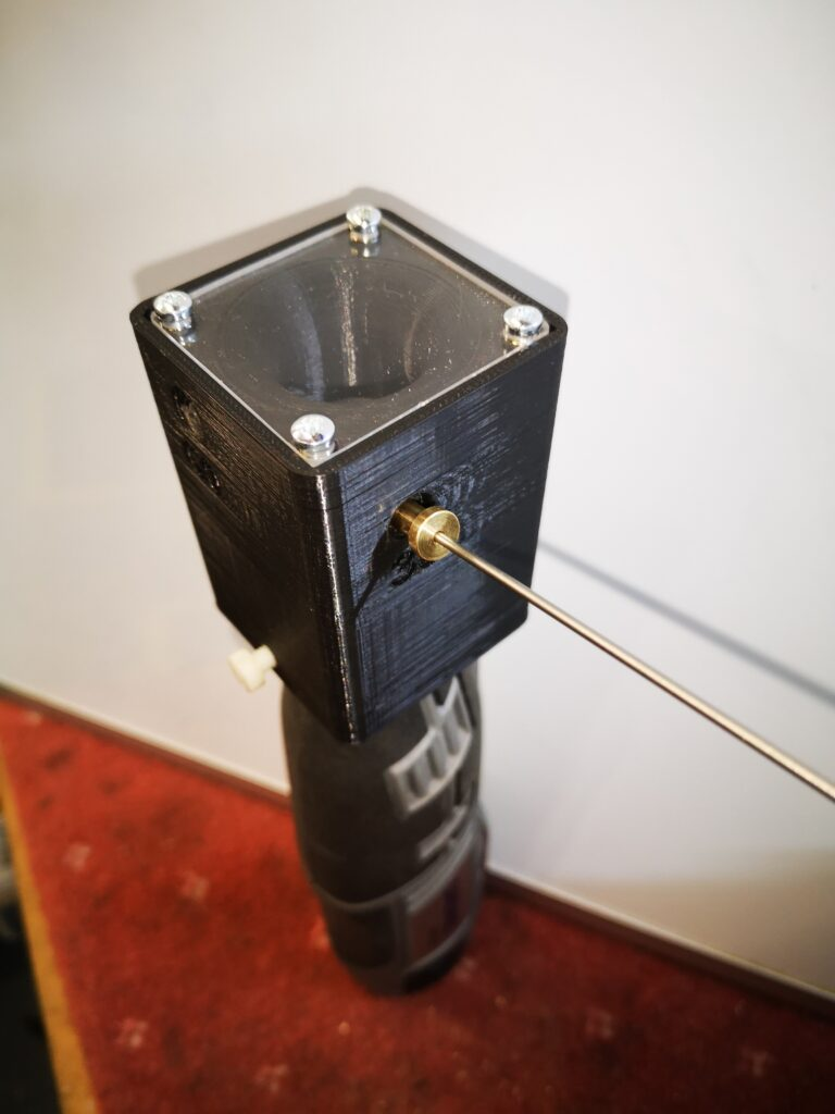 Finished view of the Dremel based TIG tungsten grinder