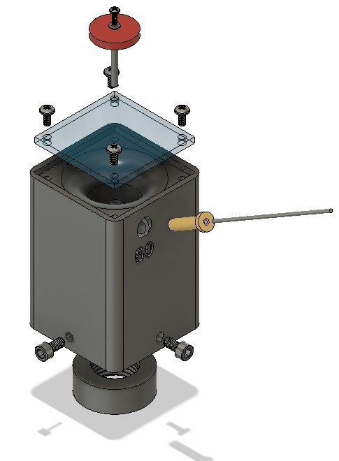 Fusion 360 image of the tungsten grinder assembly