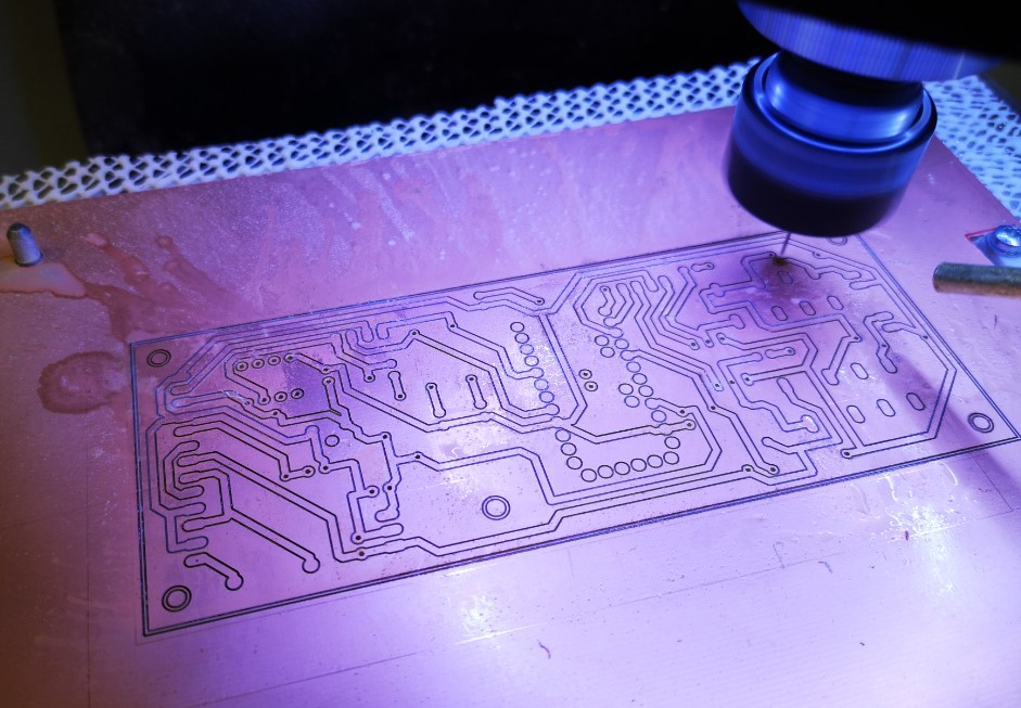 Test PCB being milled using the rubber sacrificial mat